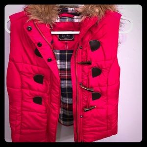 Hooded down vest with fur collar